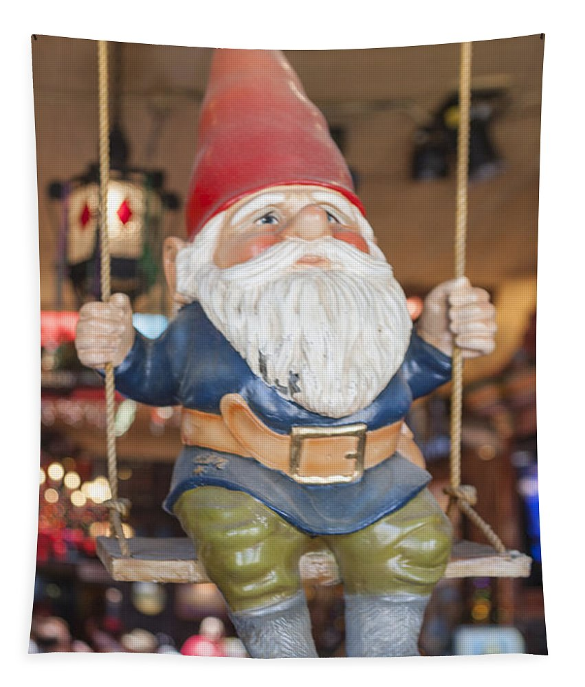 Garden Gnome Tapestry featuring the photograph Gnome On A Swing 2 by Scott Campbell