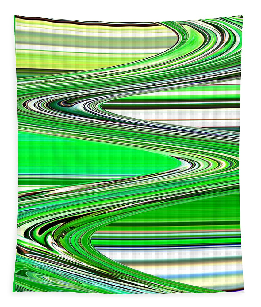 Green Abstract Tapestry featuring the photograph Go With The Flow by Carol Groenen