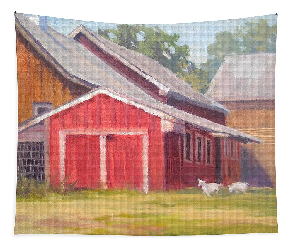 Farm Tapestry featuring the painting Goats At Play by Teresa Tromp