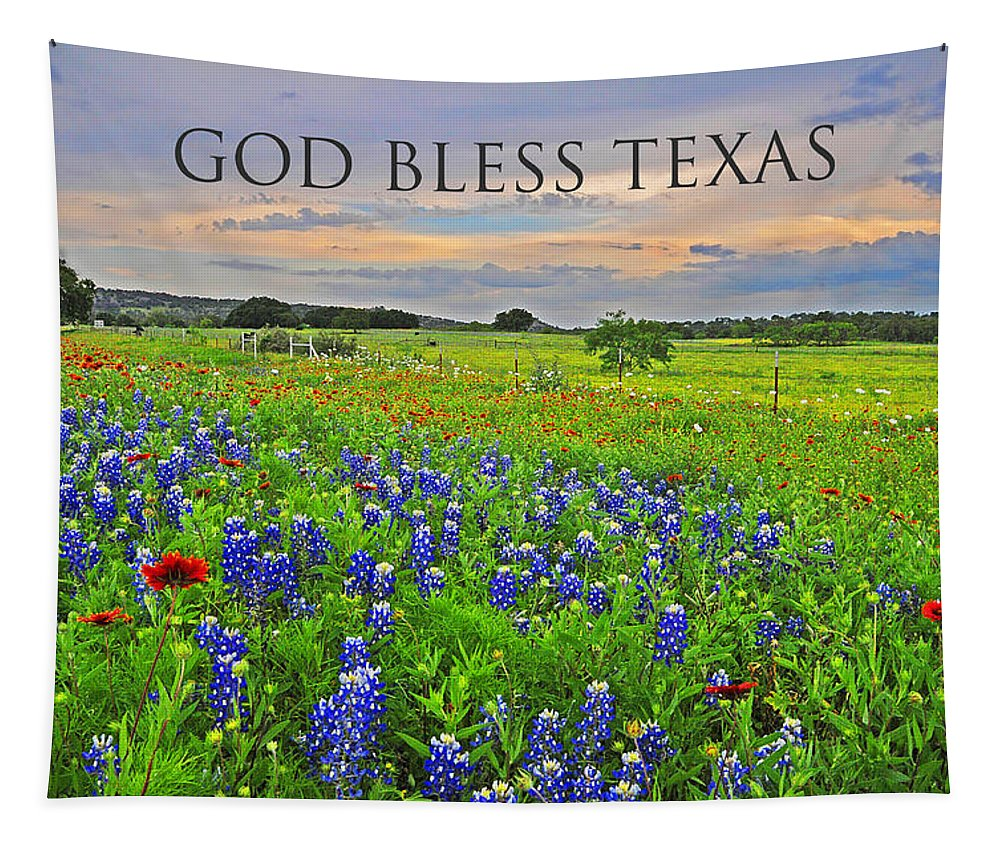 God Bless Texas Tapestry featuring the photograph God Bless Texas by Lynn Bauer