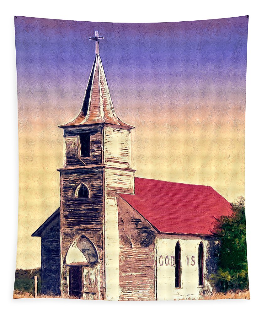 Church Tapestry featuring the painting God Is by Dominic Piperata