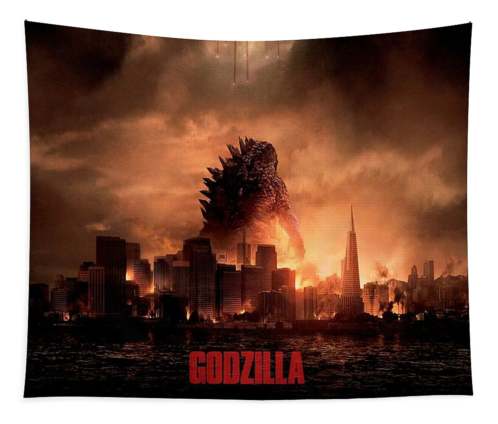 Godzilla Tapestry featuring the digital art Godzilla 2014 by Movie Poster Prints