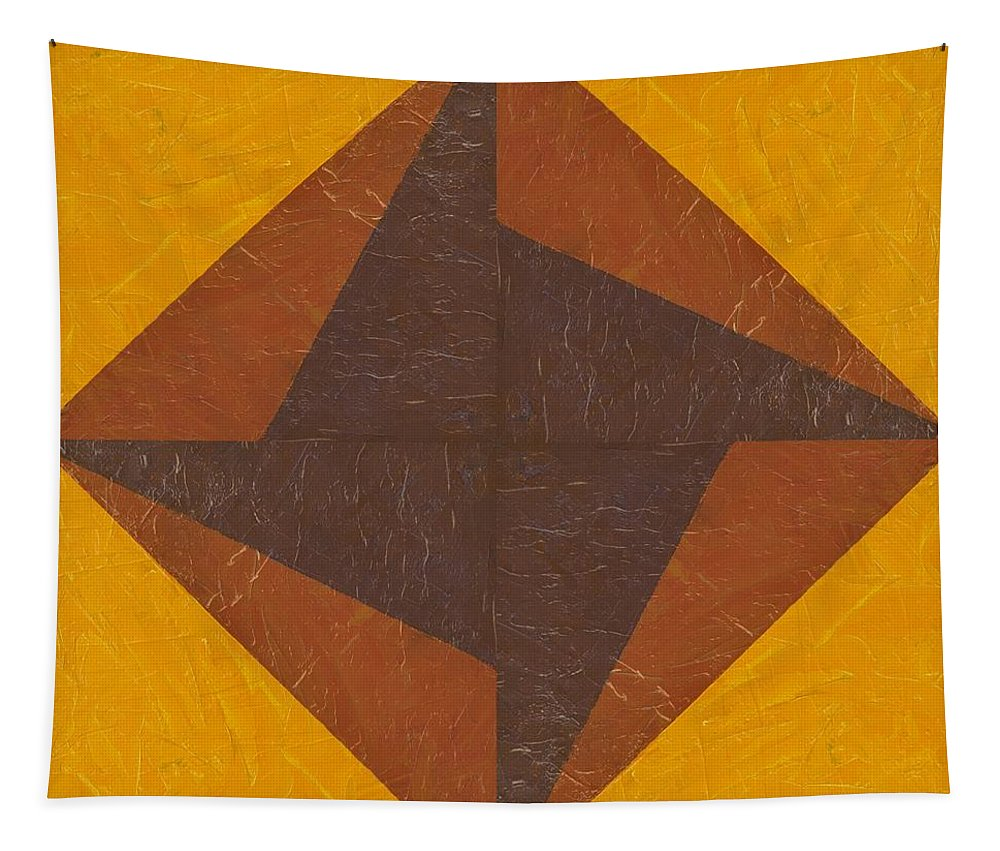 Pinwheel Tapestry featuring the painting Gold And Brown Pinwheel by Michelle Calkins