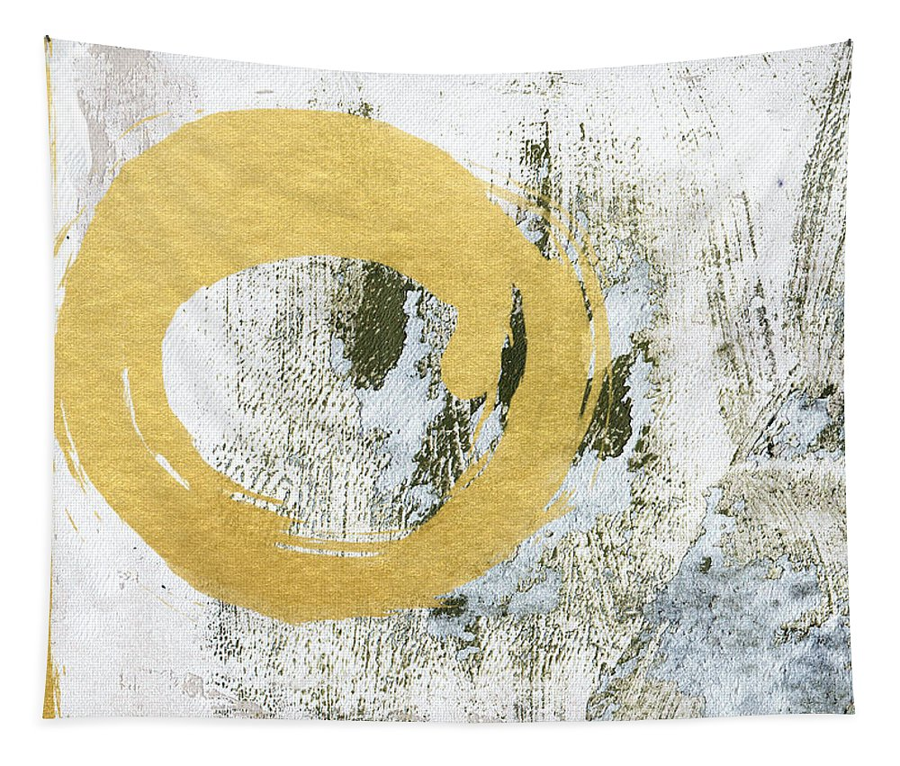 Gold Tapestry featuring the painting Gold Rush - Abstract Art by Linda Woods