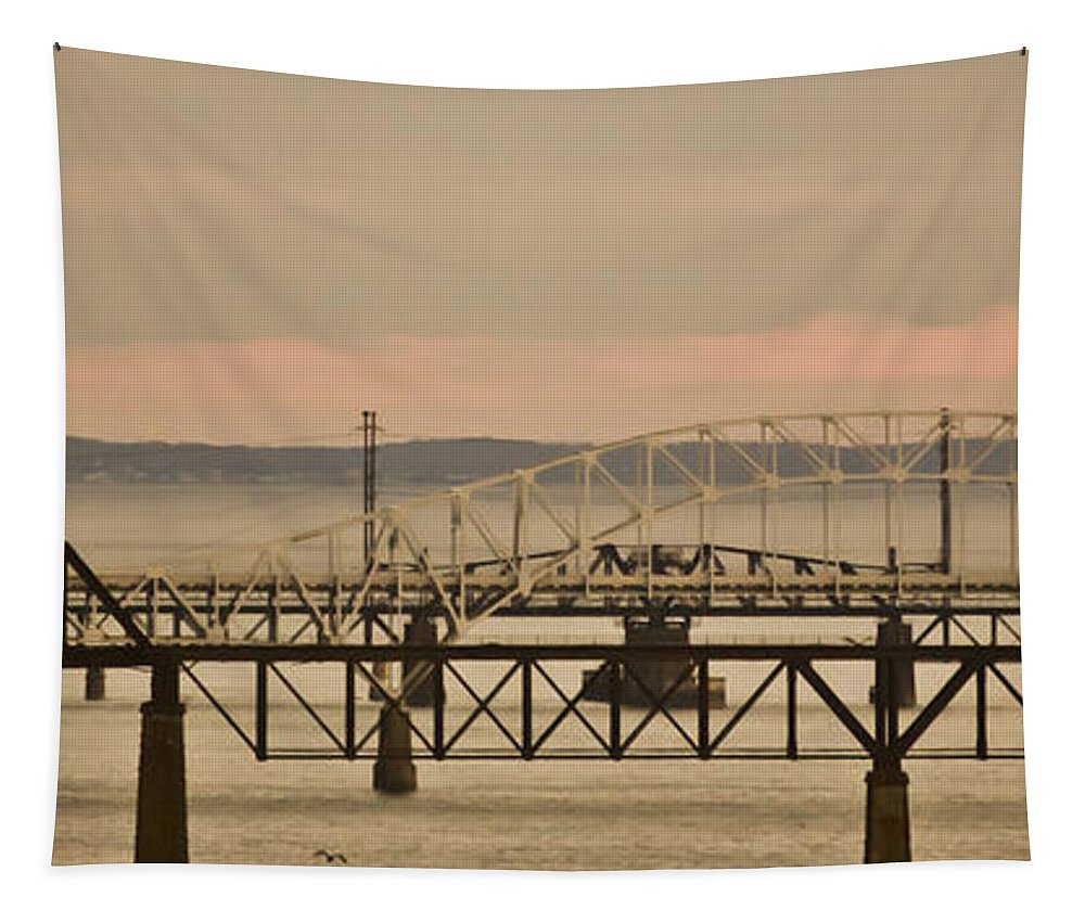 Bridge Tapestry featuring the mixed media Golden Bridge by Trish Tritz