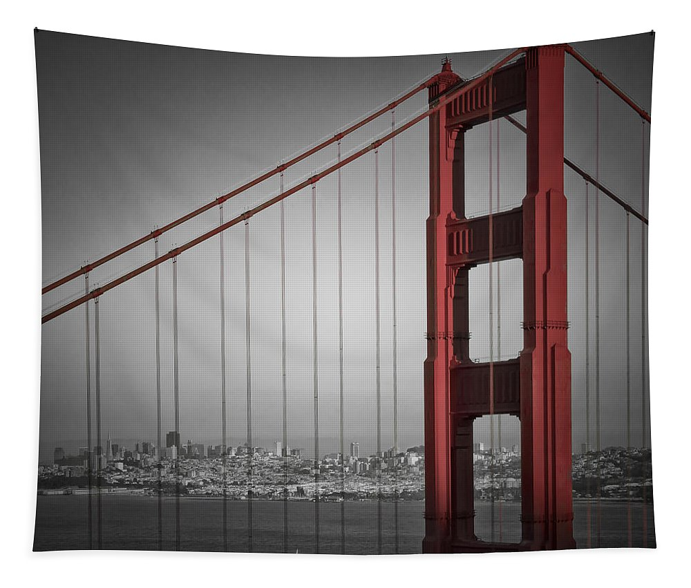 America Tapestry featuring the photograph Golden Gate Bridge - Downtown View by Melanie Viola