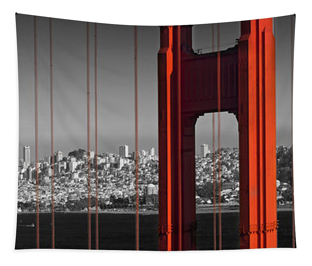 America Tapestry featuring the photograph Golden Gate Bridge Panoramic Downtown View by Melanie Viola