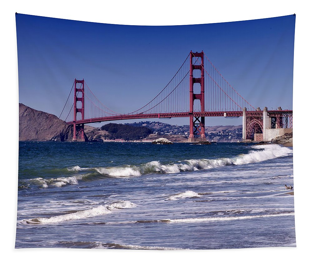 America Tapestry featuring the photograph Golden Gate Bridge - Seen from Baker Beach by Melanie Viola