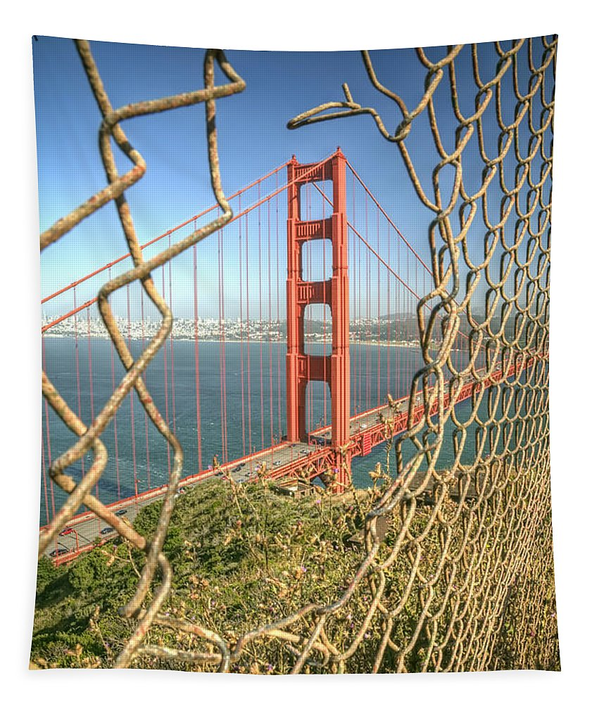 Golden Gate Tapestry featuring the photograph Golden Gate through the fence by Scott Norris
