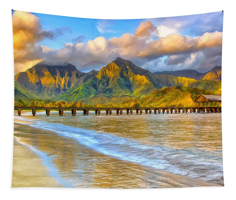 Morning Tapestry featuring the painting Golden Hanalei Morning by Dominic Piperata