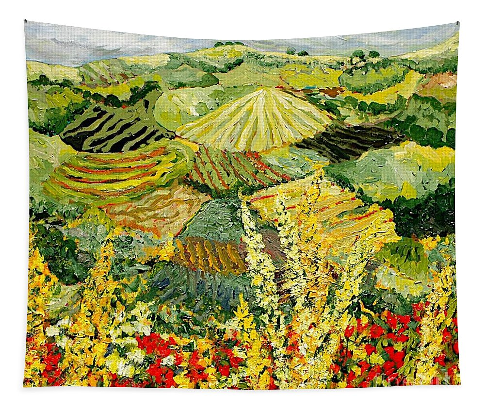 Landscape Tapestry featuring the painting Golden Hedge by Allan P Friedlander