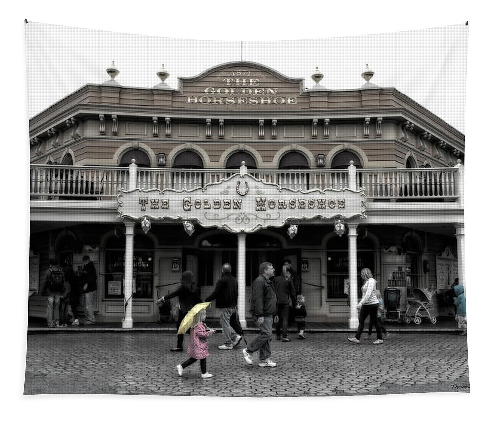 Disney Tapestry featuring the photograph Golden Horseshoe Frontierland Disneyland Sc by Thomas Woolworth