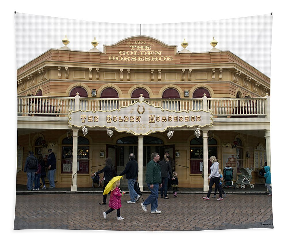 Disney Tapestry featuring the photograph Golden Horseshoe Frontierland Disneyland by Thomas Woolworth