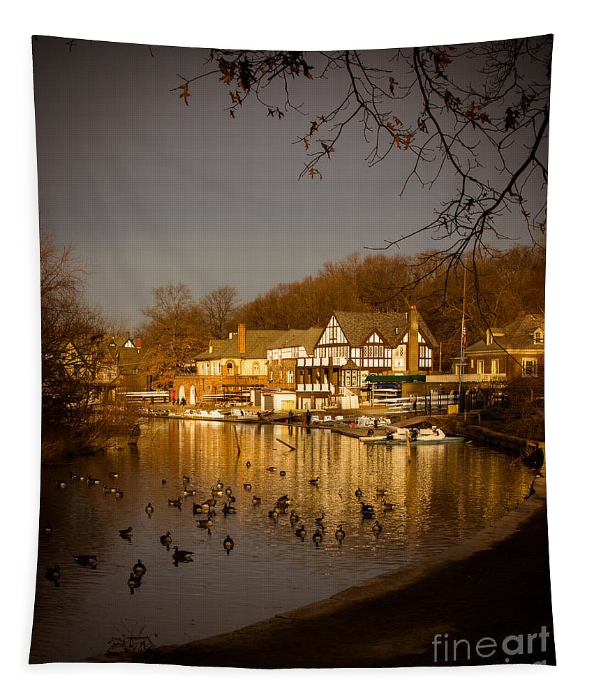 Philadelphia Tapestry featuring the photograph Golden Light At Boathouse Row by Tom Gari Gallery-Three-Photography