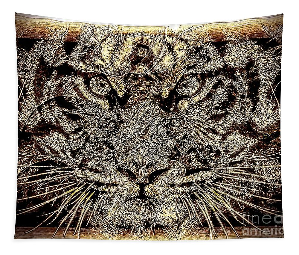 Tiger Tapestry featuring the photograph Golden Look by Ben Yassa