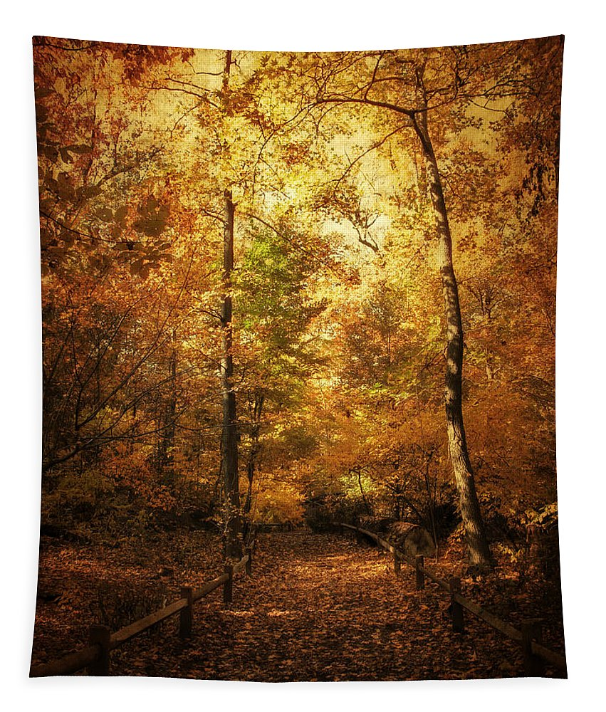 Trees Tapestry featuring the photograph Golden Path by Jessica Jenney