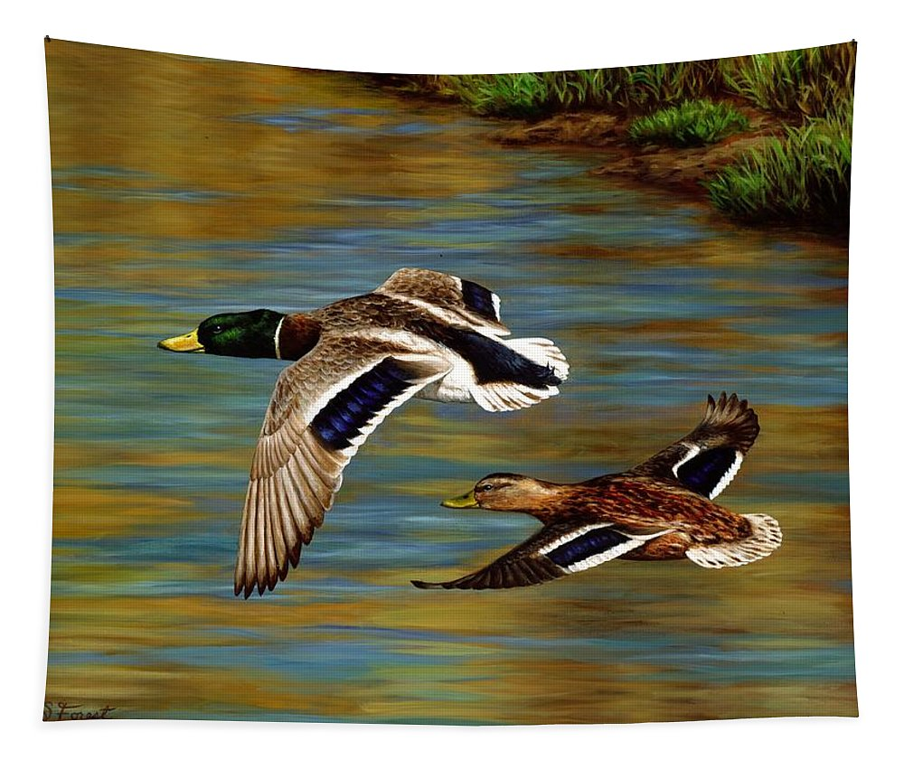 Duck Tapestry featuring the painting Golden Pond by Crista Forest