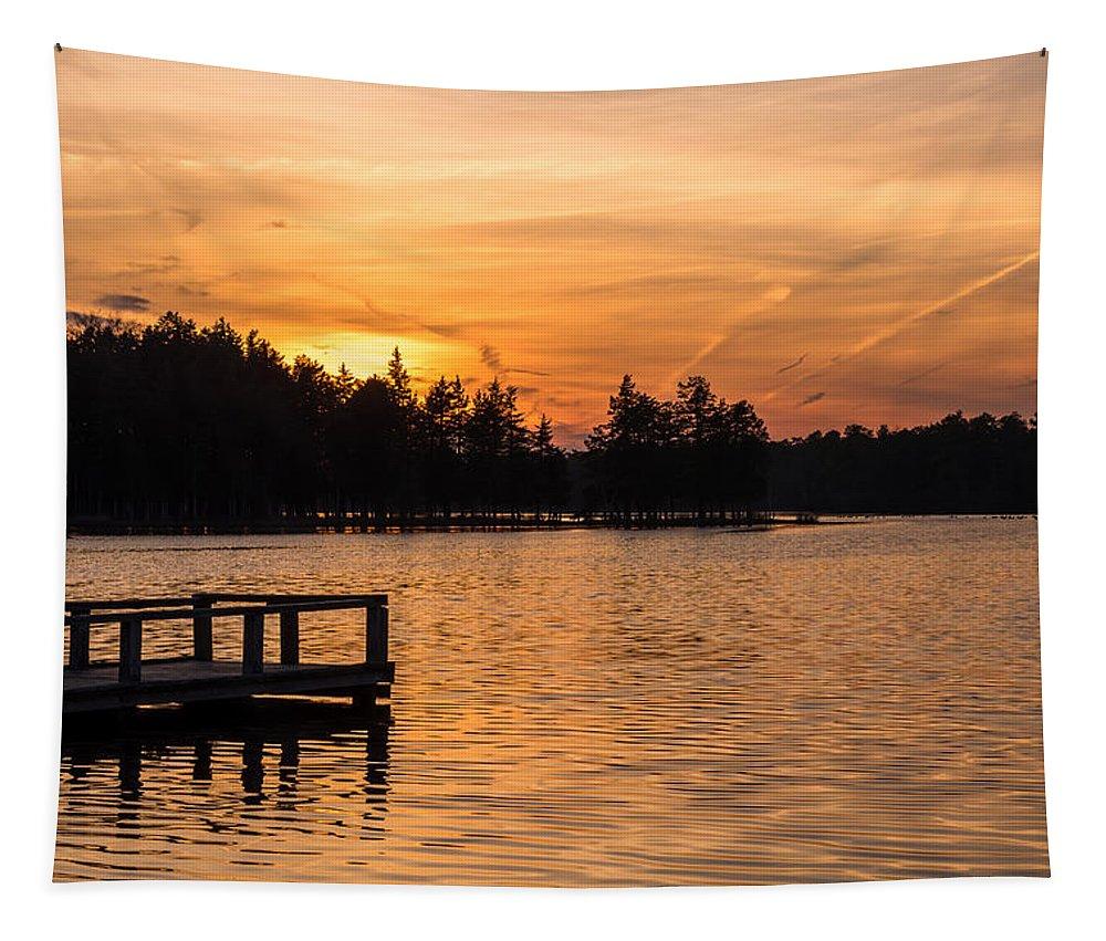 Golden Sunset Lake Horicon Lakehurst Nj Tapestry featuring the photograph Golden Sunset Lake Horicon Lakehurst Nj by Terry DeLuco