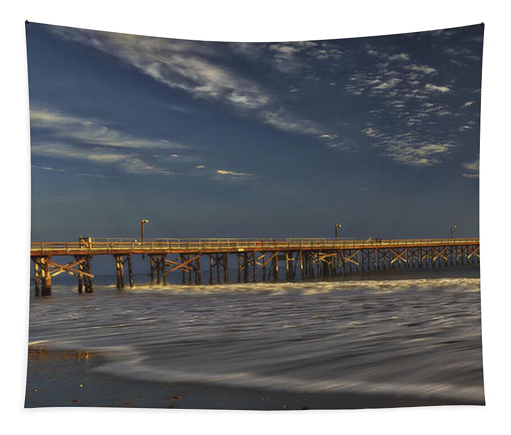 Goleta Beach And Pier Tapestry featuring the photograph Goleta Beach And Pier by Mitch Shindelbower