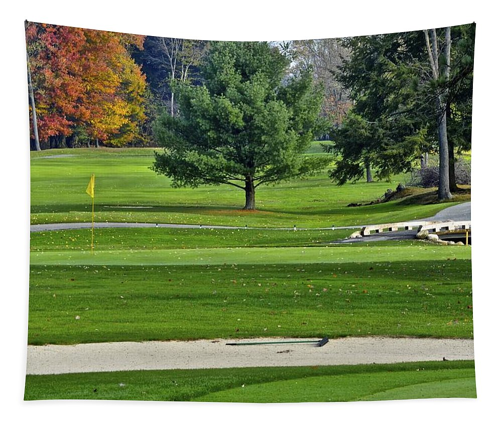Fall Tapestry featuring the photograph Golf Course Guardians by Frozen in Time Fine Art Photography