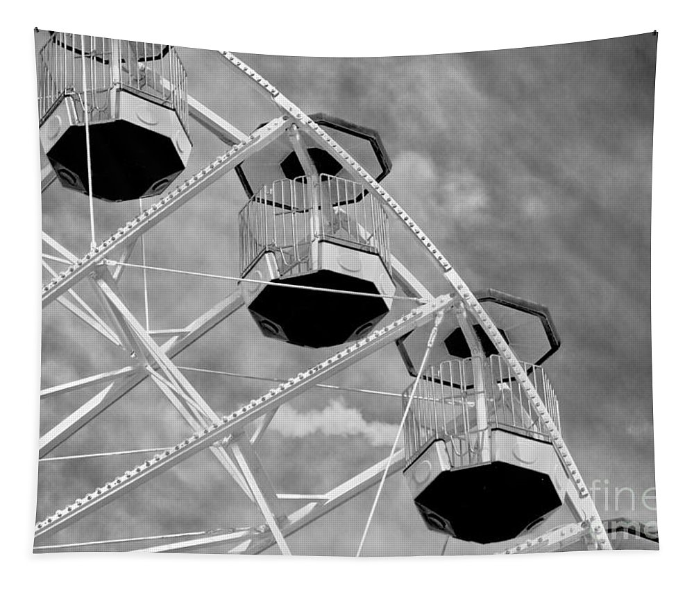 Outdoors Tapestry featuring the photograph Gondolas Black And White by Tom Gari Gallery-Three-Photography