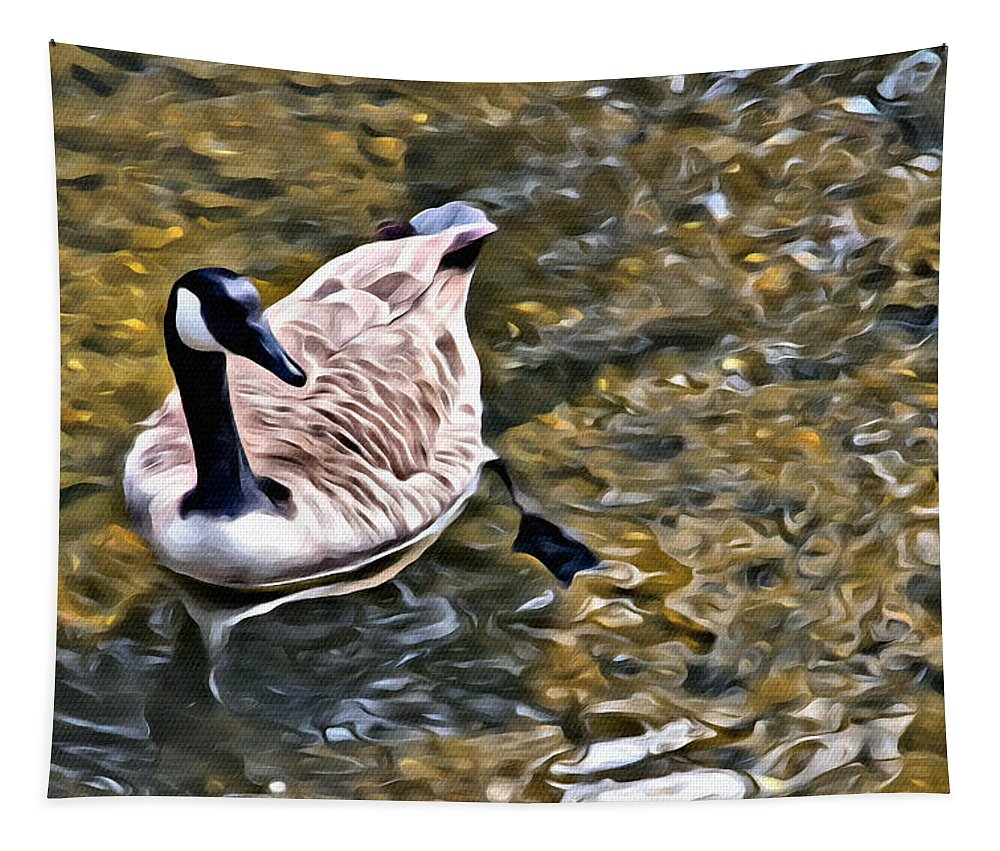 Goose Tapestry featuring the photograph Goose In The Water by Alice Gipson