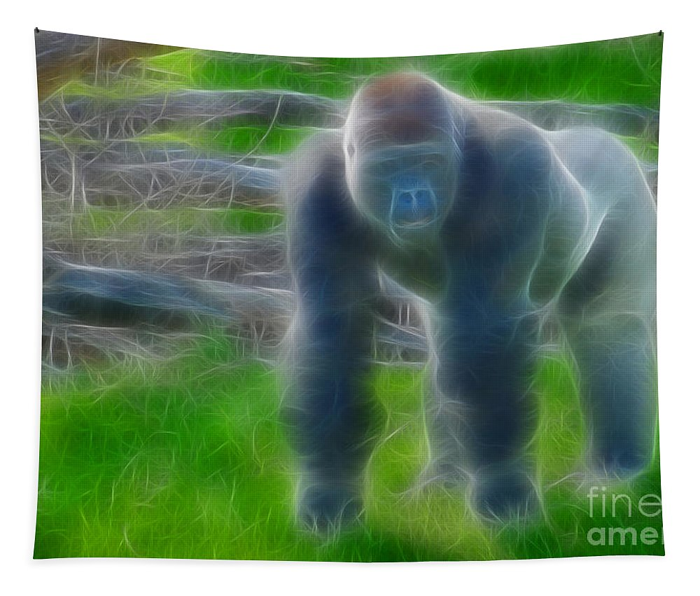 Lowland Gorilla Tapestry featuring the photograph Gorilla-00123-fractal by Gary Gingrich Galleries