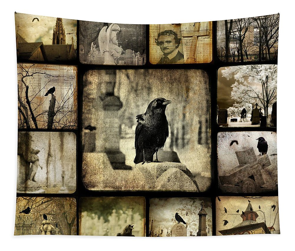 Nature Tapestry featuring the digital art Gothic And Crows by Gothicrow Images