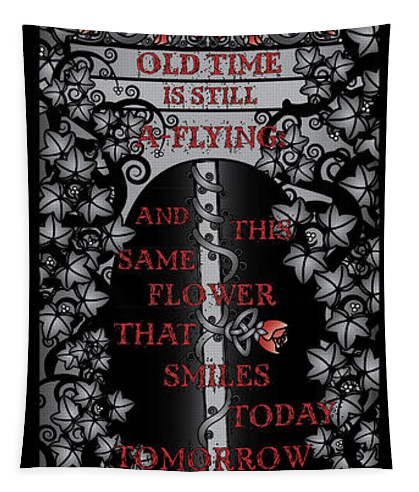 Clock Tapestry featuring the digital art Gothic Celtic Impermanence by Celtic Artist Angela Dawn MacKay