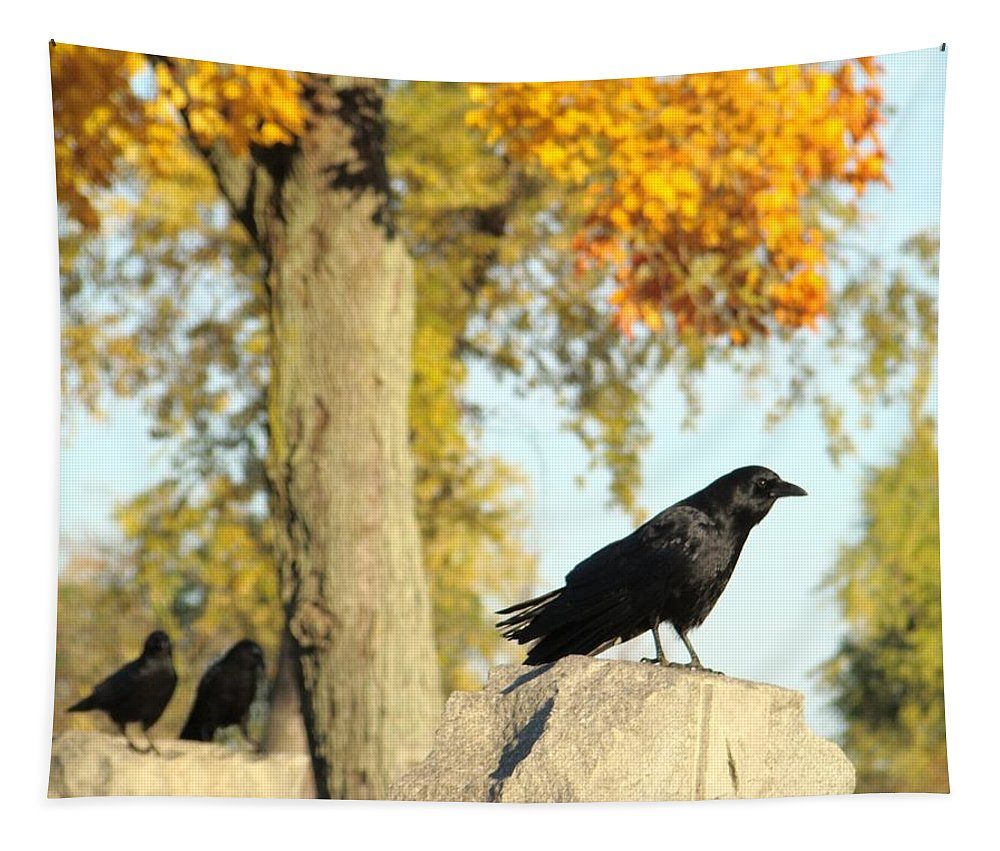Autumn Cemetery Tapestry featuring the photograph Three Ravens On A Gothic Graveyard Day by Gothicrow Images