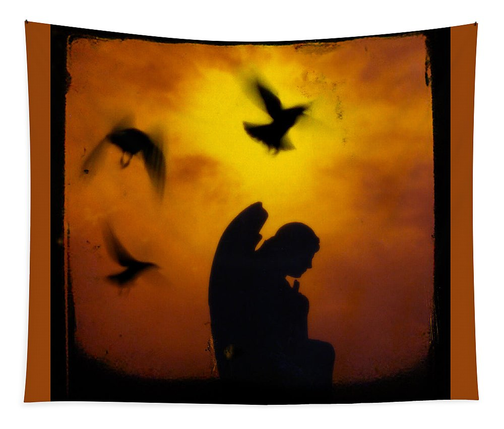Orange Tapestry featuring the photograph Gothic Silhouette by Gothicrow Images