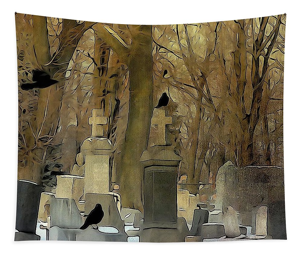 Crows In Graveyard Tapestry featuring the digital art Gothic Splash by Gothicrow Images