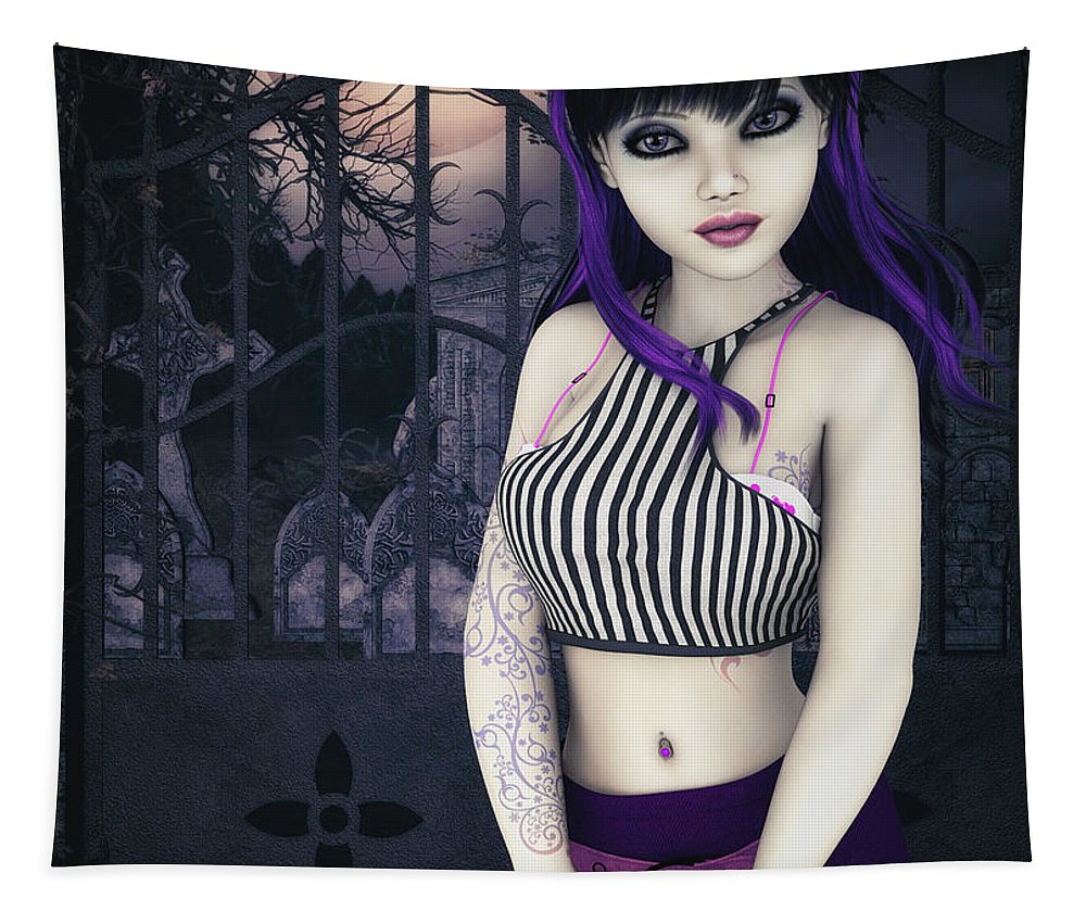 3d Tapestry featuring the digital art Gothic Temptation by Jutta Maria Pusl