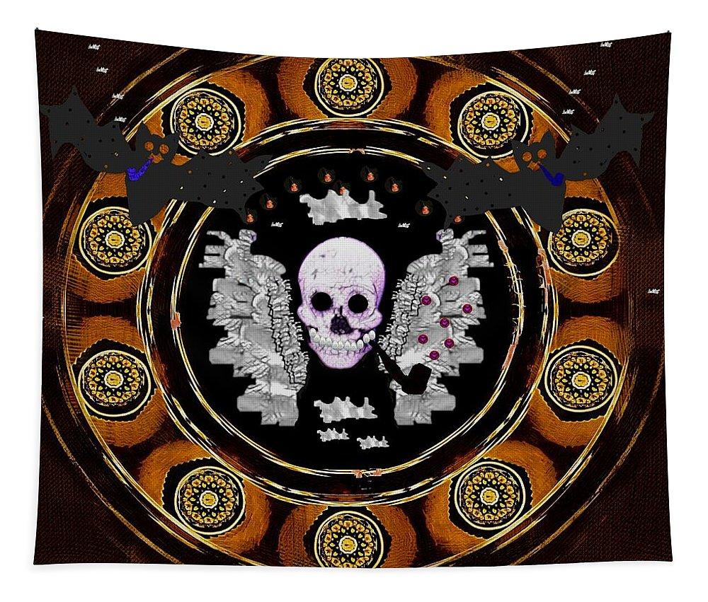 Skulls Tapestry featuring the mixed media Gotta Smoke Em All Pop Art by Pepita Selles
