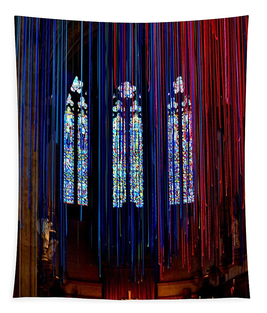Grace Cathedral Tapestry featuring the photograph Grace Cathedral With Ribbons by Dean Ferreira