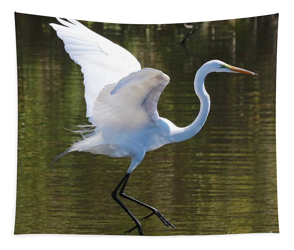 Egret Tapestry featuring the photograph Graceful Great Egret Flying by Carol Groenen