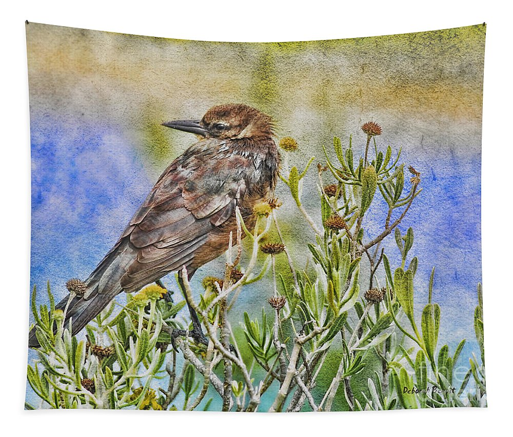 Grackle Tapestry featuring the photograph Grackle In Flowers by Deborah Benoit