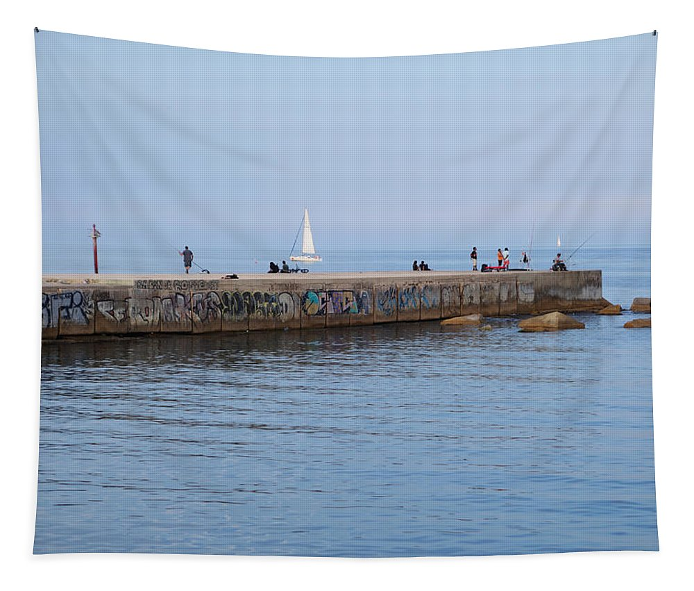 Barcelona Tapestry featuring the photograph Graffiti Fishing Wall Barcelona Spain by Toby McGuire