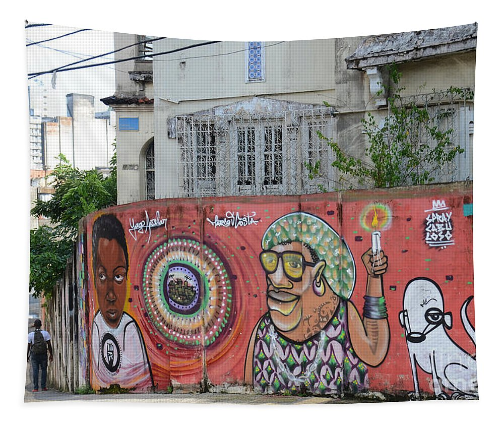 Salvador Tapestry featuring the photograph Graffiti In Salvador by Ralf Broskvar