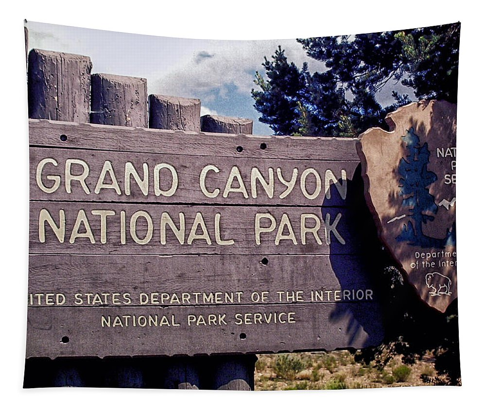 The Grand Canyon Tapestry featuring the photograph Grand Canyon Signage by Thomas Woolworth