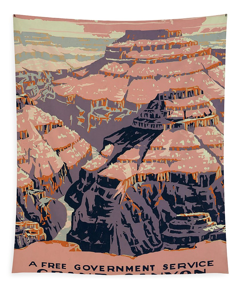 Poster Tapestry featuring the photograph Grand Canyon Travel Poster 1938 by Mountain Dreams