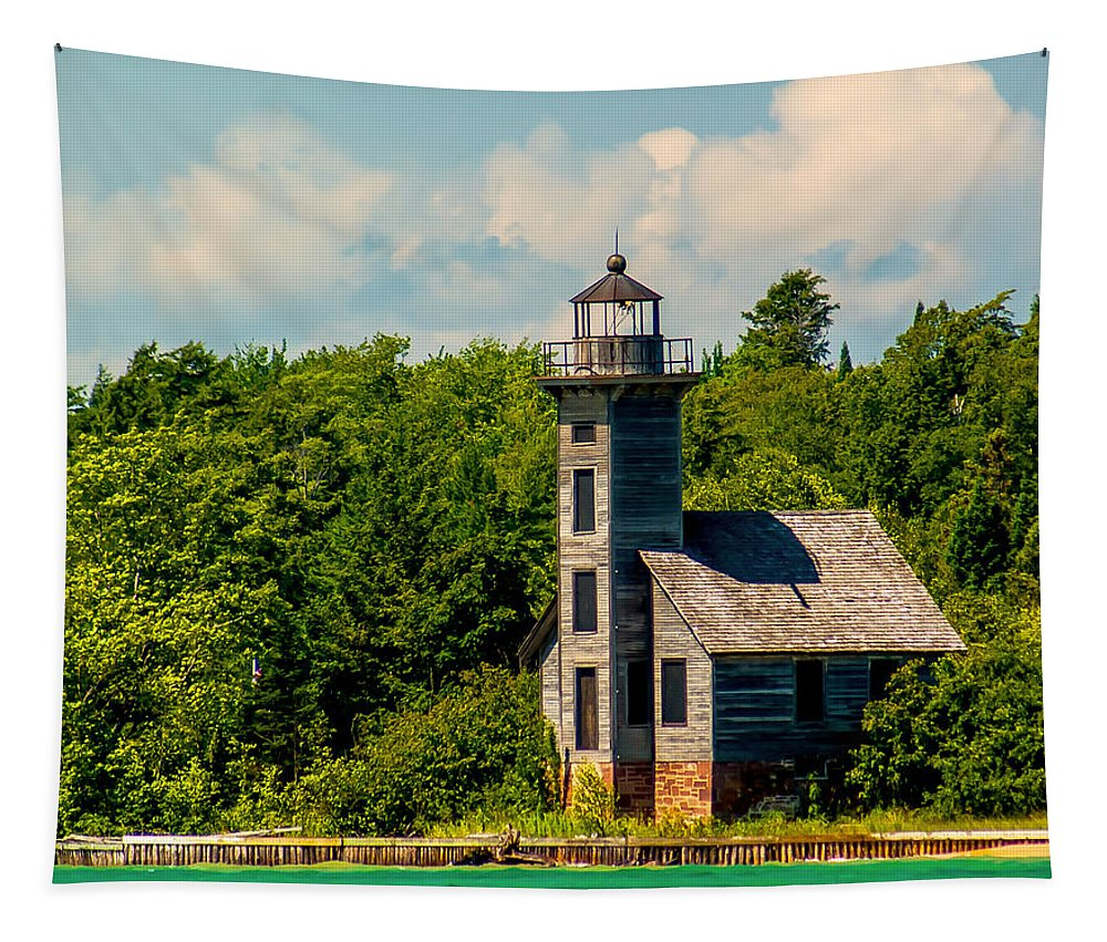Attraction Tapestry featuring the photograph Grand Island Lighthouse by Nick Zelinsky