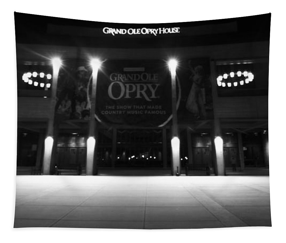 Grand Ole Opry House Tapestry featuring the photograph Grand Ole Opry At Night by Dan Sproul