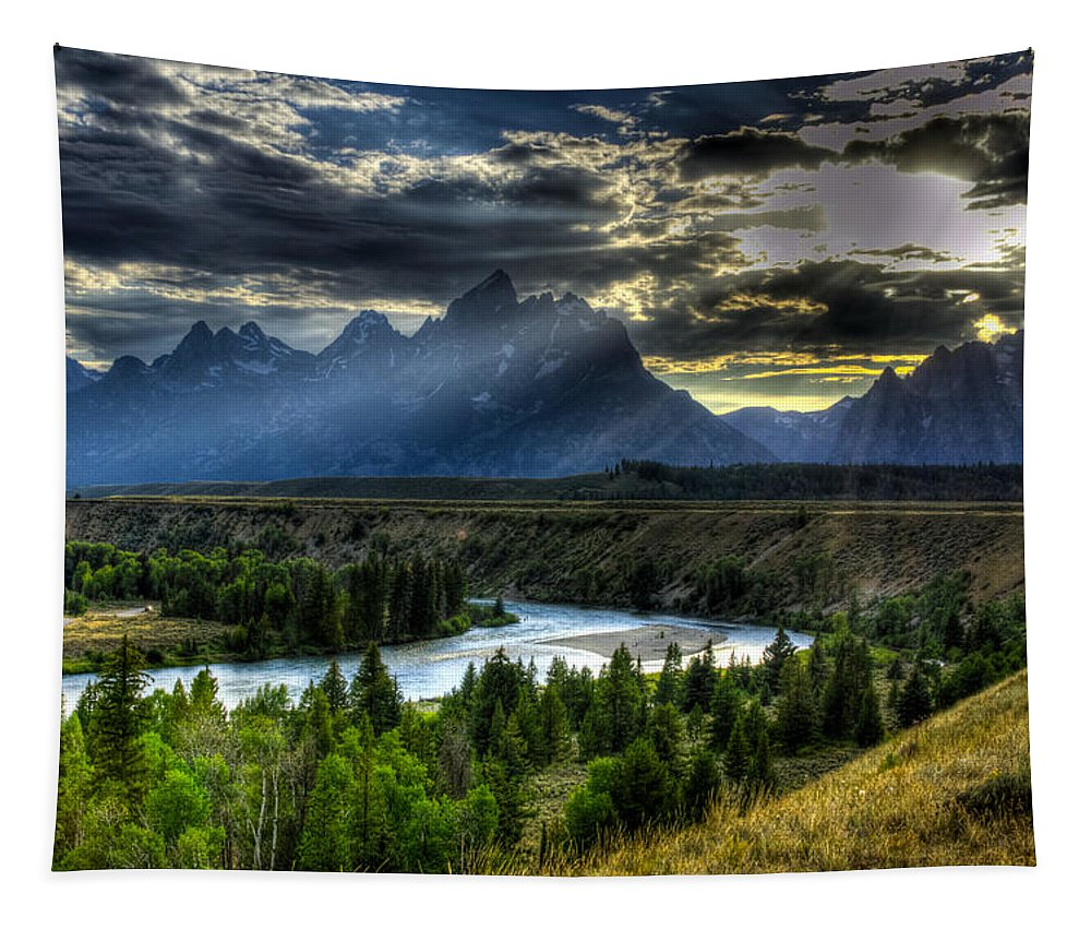 Grand Teton National Park Tapestry featuring the photograph Grand Teton National Park by Yeates Photography