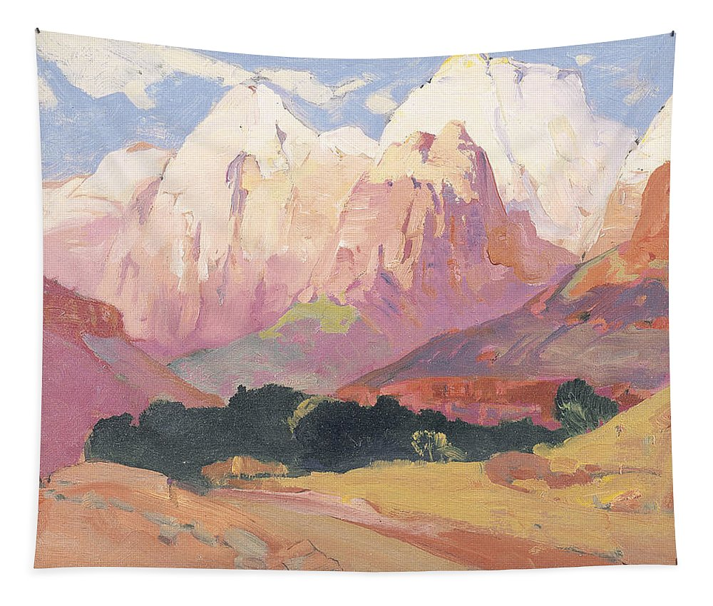 Landscape Tapestry featuring the painting Grand Tetons by Franz A Bischoff