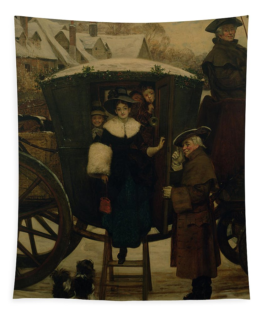 Carriage Tapestry featuring the painting Grandmamas Christmas Visitors by George Adolphus Storey