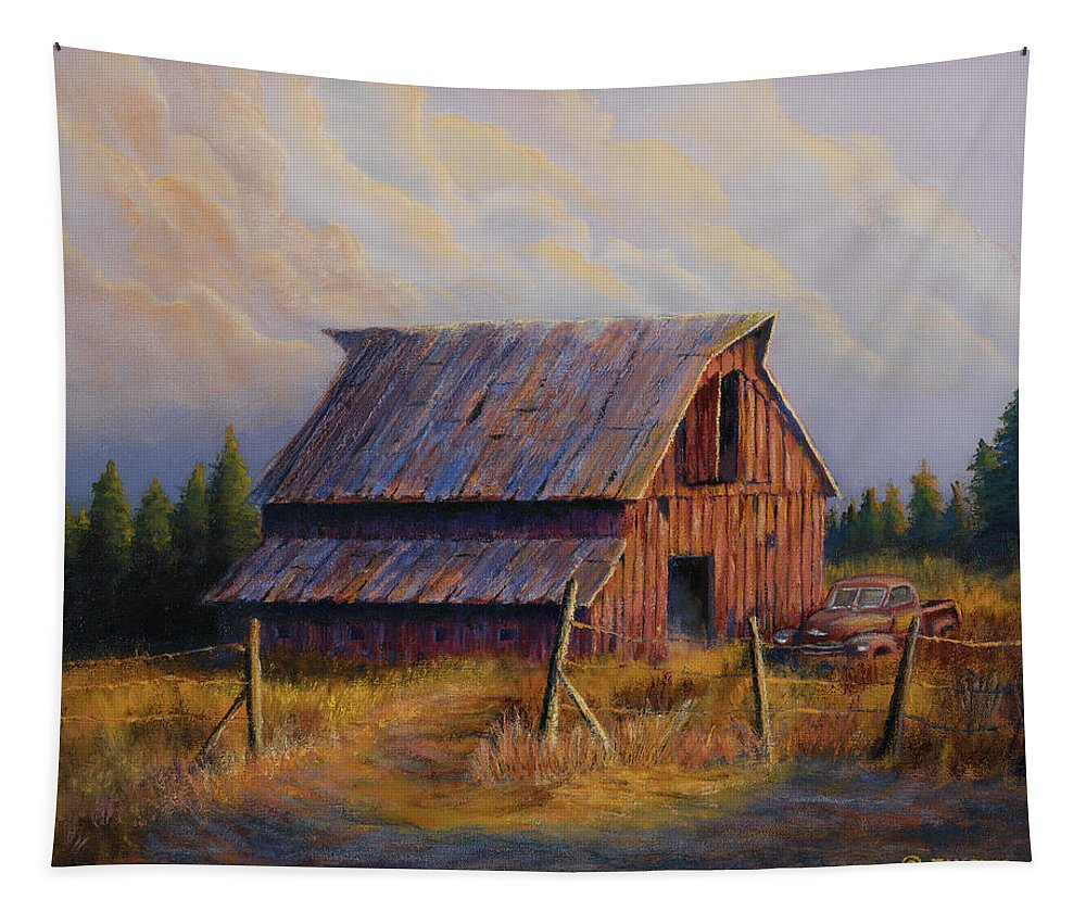 Barn Tapestry featuring the painting Grandpas Truck by Jerry McElroy