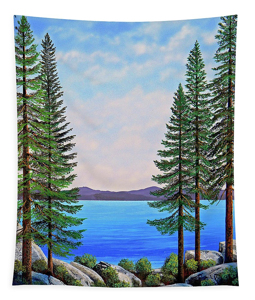 Gouache Tapestry featuring the painting Granite Boulders Lake Tahoe by Frank Wilson