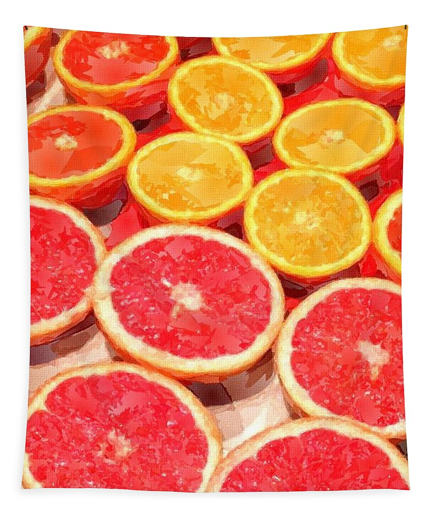 Grapefruit Tapestry featuring the painting Grapefruit And Oranges by Chris Butler