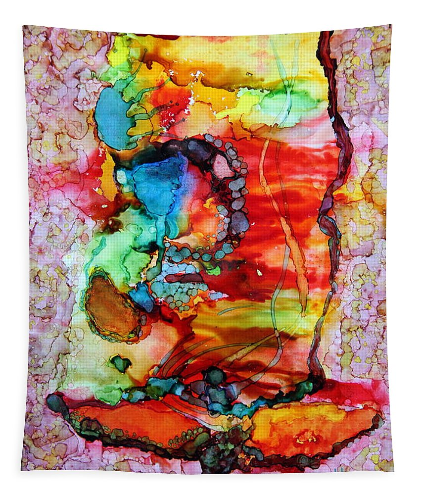 Alcohil Ink Tapestry featuring the painting Grateful Heart.. by Jolanta Anna Karolska